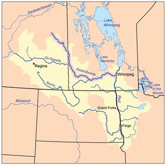 Verlauf und Einzugsgebiet des Assiniboine Rivers