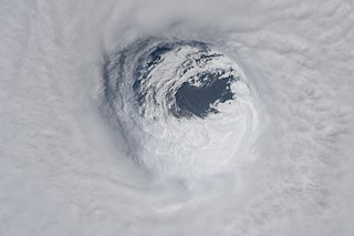 Eye (cyclone) region of mostly calm weather at the center of strong tropical cyclones
