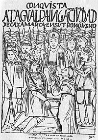 grabado de la captura de atahualpa en cajamarca por guamán poma