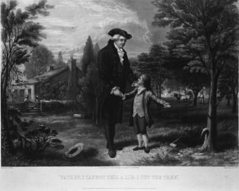 English: George Washington, as a boy, telling ...