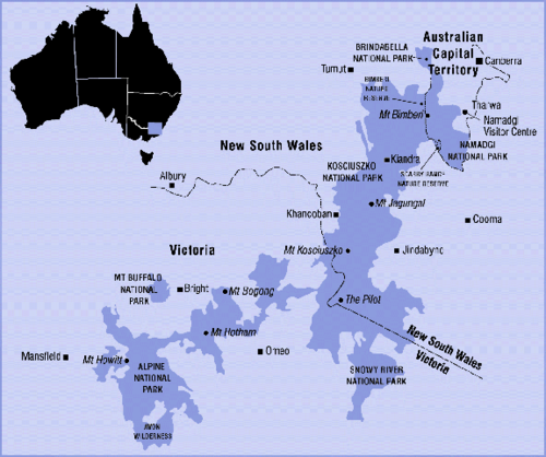 Alpine National Parks of the Australian mainland. AustAlpsRegionMap.png