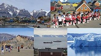 Avannaata - Clockwise from top left: Ukkusissat, Upernavik, Ilulissat Icefjord, Qaanaaq, Uummannaq