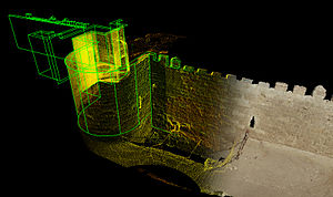 Al-Azhar Park - Isometric laser scan data image of a portion of the 12th century Ayyubid Wall that borders Al-Azhar Park