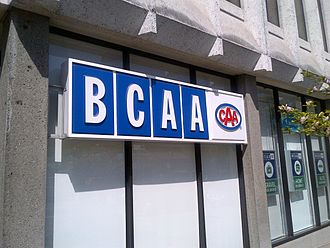 Canadian Automobile Association - BCAA signage outside of Vancouver office includes CAA logo