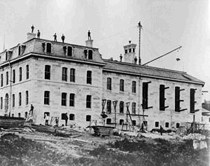 British Columbia Penitentiary - BC Penitentiary under construction in 1877