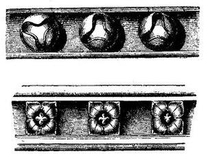 Ball flower - Forms of ball-flower ornamentation in Tewkesbury Abbey