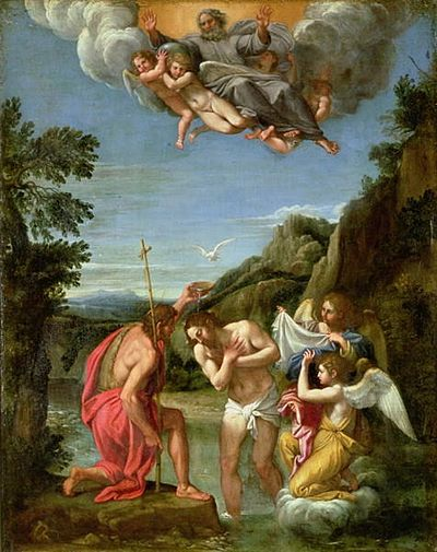Francesco Albani's 17th-century Baptism of Christ is a typical depiction with the sky opening and the Holy Spirit descending as a dove as Jesus was baptized by John. Baptism-of-Christ-xx-Francesco-Alban.JPG