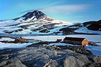 Horseshoe Island (Antarctica) - Base Y (Marguerite Bay) on Horseshoe Island with Mount Searle in the background