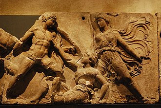Bassae Frieze - BM 537 Achilles (left) and Penthesilea (on the ground).