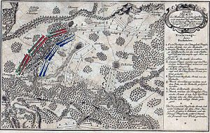 Battle of Kay - Battlefield at Kay (Paltzig) showing advance of the Prussian forces against the Paltig heights.