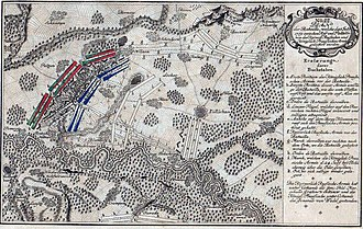 Battle of Kay - Battlefield at Kay (Paltzig) showing advance of the Prussian forces against the Paltig heights