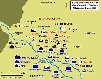 Albert Gyulay - Battle of Piave River, 8 May 1809, showing afternoon positions