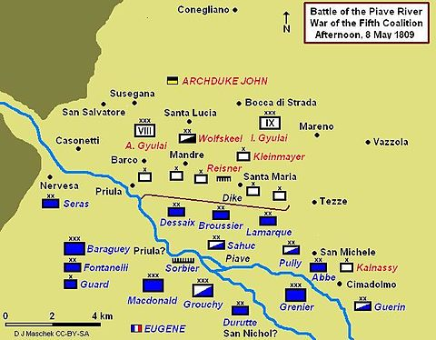 Battle of Piave showing afternoon positions