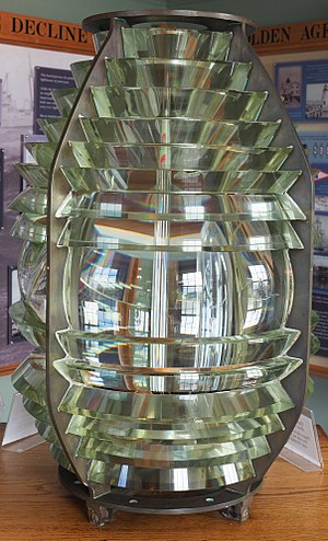 "Beavertail Lighthouse - 4th order fixed ""beehive"" Fresnel lens.  This was the last such lens installed at Beavertail Light in Jamestown, Rhode Island, USA.  Source: http://www.beavertaillight.org/history.html"
