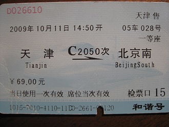Beijing–Tianjin intercity railway - Tickets for Beijing–Tianjin high-speed