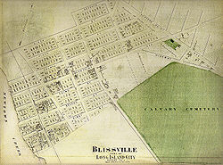 Map of Blissville in the early 1900s from the Greater Astoria Historical Society
