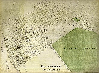 Calvary Cemetery (Queens, New York) - Map of Blissville from 1873, showing Calvary Cemetery, from the Greater Astoria Historical Society
