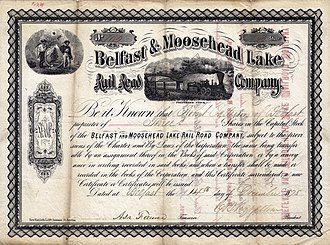 Belfast and Moosehead Lake Railroad (1871–2007) - Image: Belfast & Moosehead Lake RR Stock Certificate (1878)