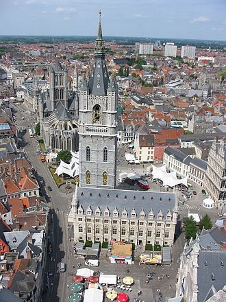Belfry of Ghent - Belfry of Ghent, Saint Nicholas' Church in the background
