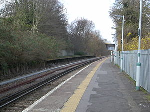 Belmont railway station (Sutton) - The remains of the former Up platform, on the far side of the single track