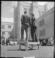Berkeley, California. University of California Lawn Forum. Ed Howden, Chairman, and a student commenting on... - NARA - 532095.tif