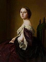 Portret damy w fioletowej sukni