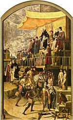 A painting of an Inquisitor sitting on a throne before a large crowd