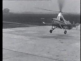 Een opstijgende en landende autogiro in 1932