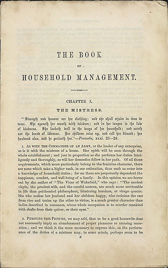 Mrs Beeton's Book of Household Management - First page of first chapter of Book of Household Management