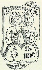 "Drawing of a cake moulded with an image of two conjoined women, the name ""Mary Chulkhurst"", and the phrase ""A 34 Y in 1100"". One corner of the cake, where another name would be, is missing."