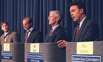 Matt Gonzalez - Gonzalez (far left) at the 1999 District Attorney debate with Terence Hallinan and Bill Fazio (far right)
