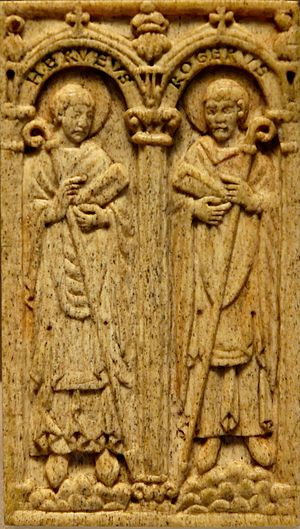 Roman Catholic Diocese of Beauvais - Herveus and Roger, two 10th cent. Bishops of Beauvais, panel from the binding of a Pontifical in the cathedral of Beauvais