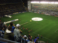 The Copa Libertadores logo is shown on the centre of the pitch before every game in the competition.