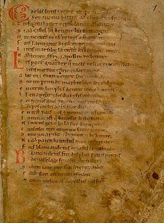 Roland - Composed in 1098, the first page of the Chanson de Roland (Song of Roland)