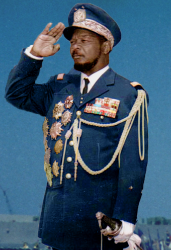 Jean-Bedel Bokassa, self-crowned Emperor of Central Africa. Bokassa colored.png