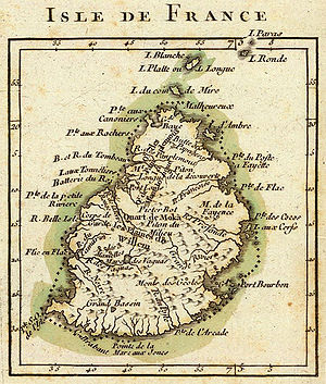 "History of Mauritius - French map from 1791 depicting Mauritius (then called ""Isle de France"")."