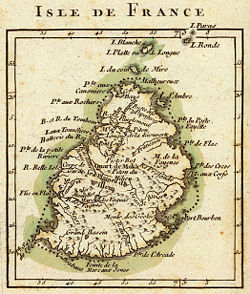 "French map from 1791 depicting Mauritius (then called ""Isle de France"")."
