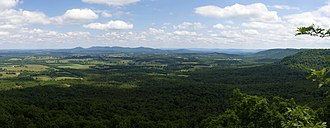 Boston Mountains - Looking east on Gaither Mountain from AR 43. The plateau of the Boston Mountains is clearly visible on the right.