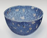 Decorated Venetian glass bowl