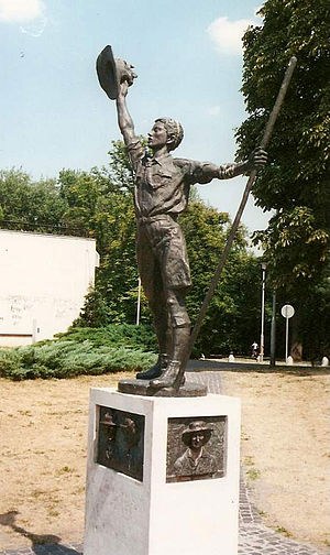 4th World Scout Jamboree - Statue of The Boy Scout erected in Gödöllõ, Hungary to commemorate the tenth anniversary of the 4th World Jamboree.