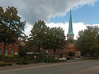 Brakel, Germany - Brakel, street view with churchtower)