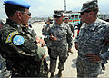 Brazilian military Gen. Floriano Peixoto, commander of United Nations Stabilization Mission in Haiti, and U.S. Army Lt. Gen. P.K. Keen, deputy commander of U.S. Southern Command and commanding general of Joint 100311-N-HX866-011.jpg