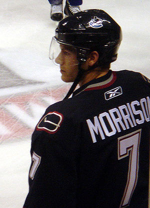 Brendan Morrison with the Vancouver Canucks on...