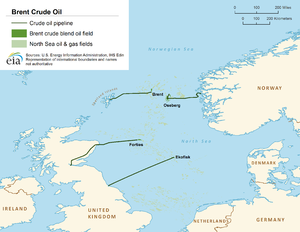 Brent Crude - Location of the Brent oil platform in the North Sea