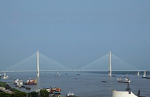 Anhui - The Yangtze River bisects the province diagonally. Pictured: The Anqing Yangtze River Bridge