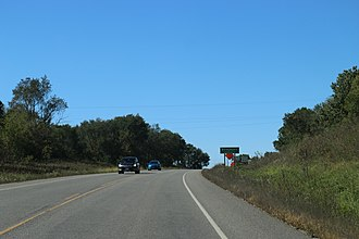 Bridgeport (community), Wisconsin - Sign on Wisconsin Highway 60