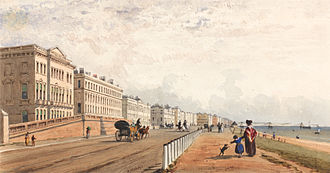 Brighton - Brighton, The Front and the Chain Pier Seen in the Distance, Frederick William Woledge, 1840.