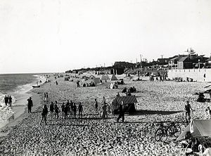 Brighton, South Australia - People on the beach at Brighton in South Australia in 1930.