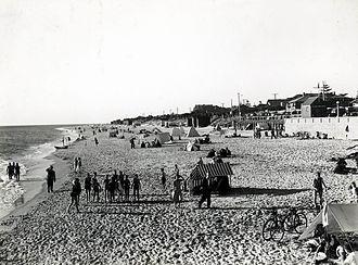 Brighton, South Australia - People on the beach at Brighton in South Australia in 1930.