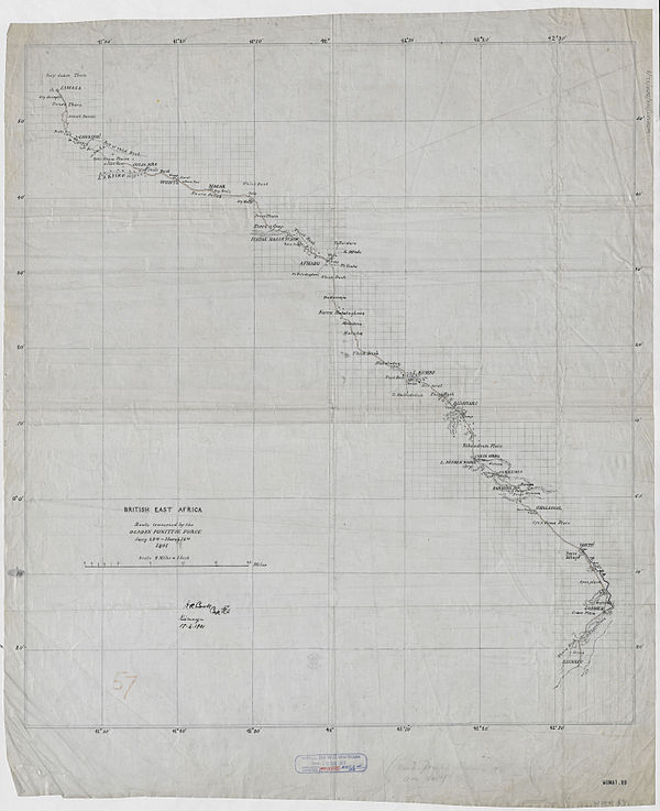 600px british east africa. route traversed by the ogaden punitive force jany. 25th.   march 12th. 1901 %28womat afr bea 32 1%29